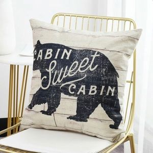 CABIN SWEET CABIN with bear oatmeal pillow cover
